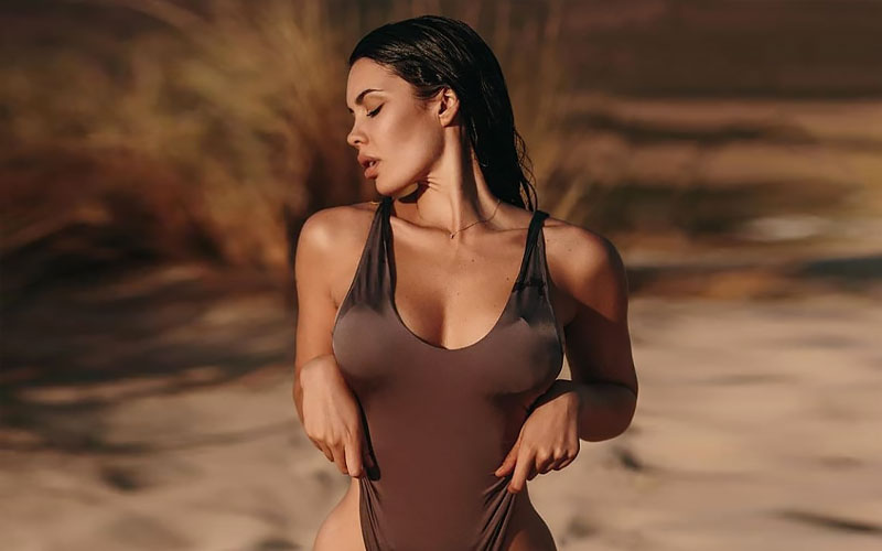 cute mexican girl in swimsuit